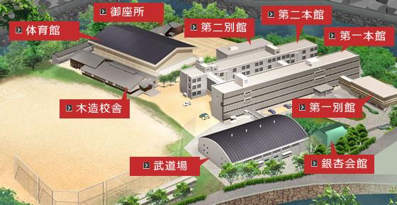 彦根東高校鳥瞰図